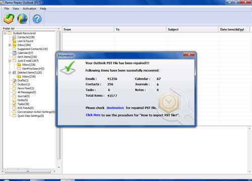 PST Repair Tool Outlook - Verify Repaired Outlook Profile